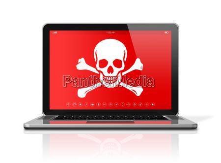 laptop z symbolem piratow na ekranie