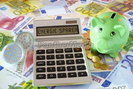 napis energy save na wyswietlaczu z