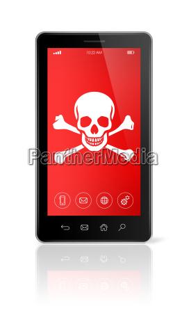 smartphone z symbolem piratow na ekranie