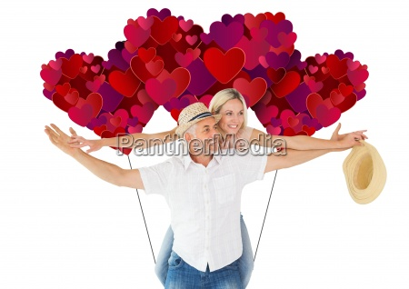 composite image of happy man giving