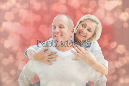 composite image of happy mature man