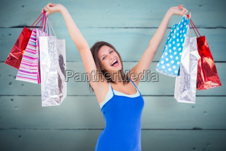 composite image of excited young woman