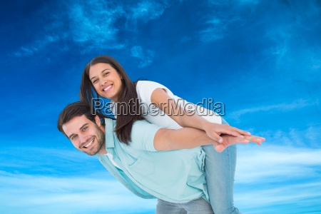composite image of happy casual man