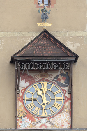 clock at the wuerzburg town hall