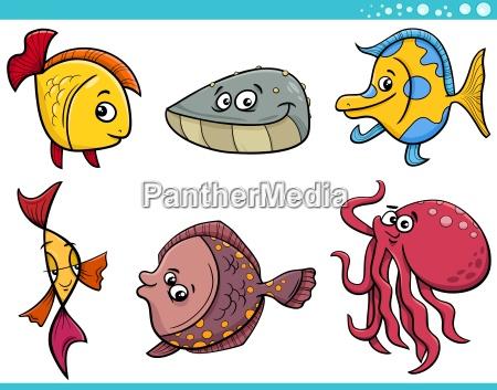 zwierzeta zwierzatka ryba ilustracja osmiornica cartoon