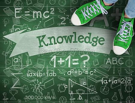wiedza na zielonym tablicy