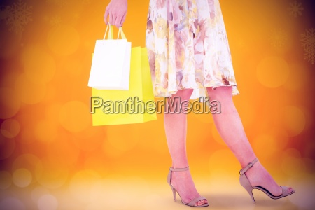 composite image of elegant woman with