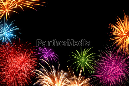 colorful fireworks with copy space