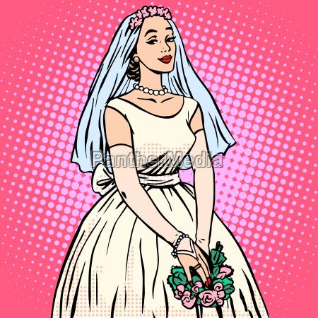 panna mloda w bialej sukni slubnej