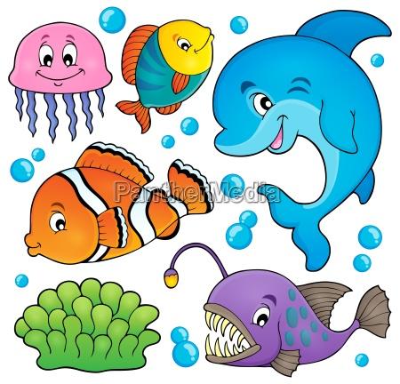 fauna, oceanu, temat, zestaw, 1 - 15723228