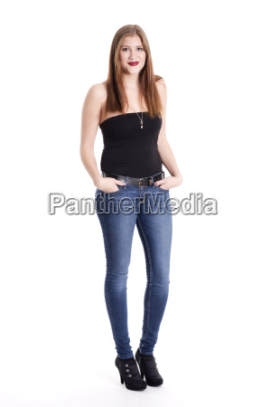 young woman in jeans with hands