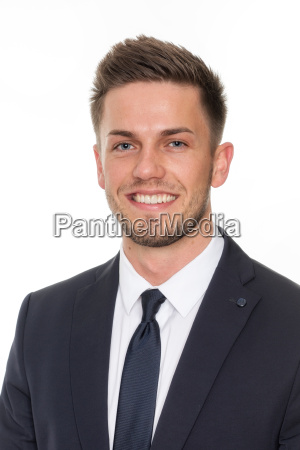 laughing young man in suit