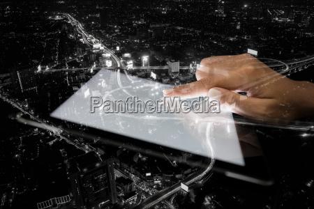 podwojnej ekspozycji strony za pomoca tabletu