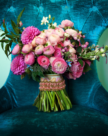 beautiful bouquet in a chair