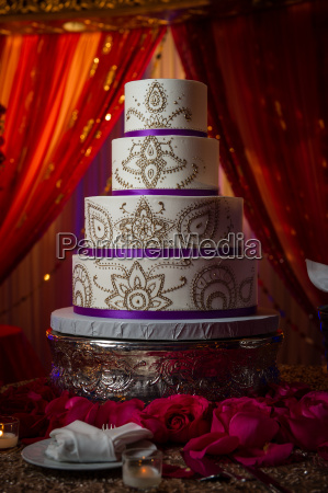 decorative gold and purple indin wedding
