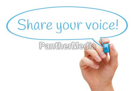 share your voice speech bubble concept