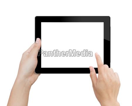 ręka, kobieta, za, pomocą, makiety, cyfrowy - 15987877