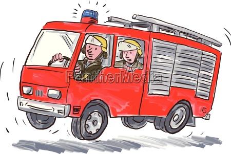 red fire truck strazak karykatury