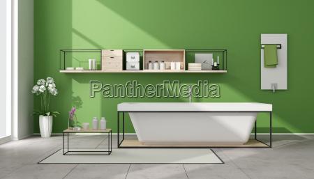 minimalistyczna zielona lazienka