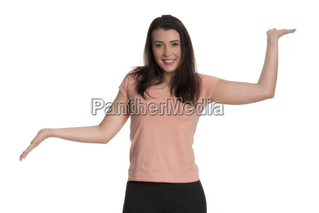 young woman holding a presentation and