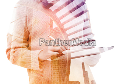 podwojna ekspozycja kobieta biznesu przy uzyciu