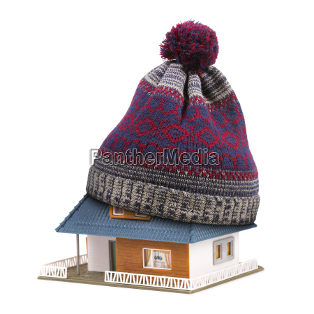 home insulation or insurance concept hat