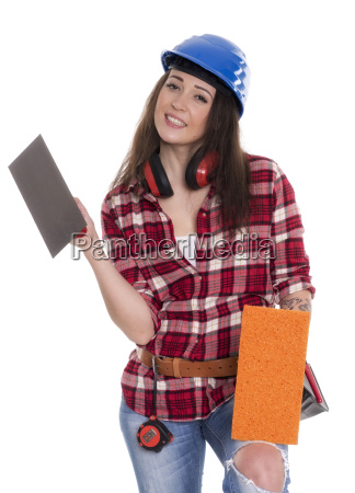 female mason with trowel as advertising