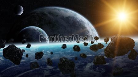 meteoryt wplyw na planet w przestrzeni