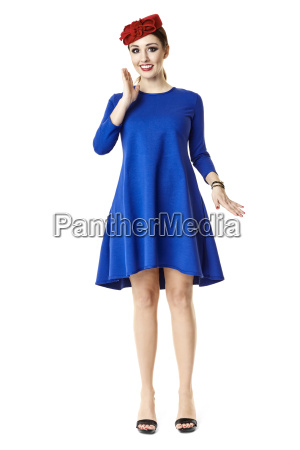 happy woman in blue dress