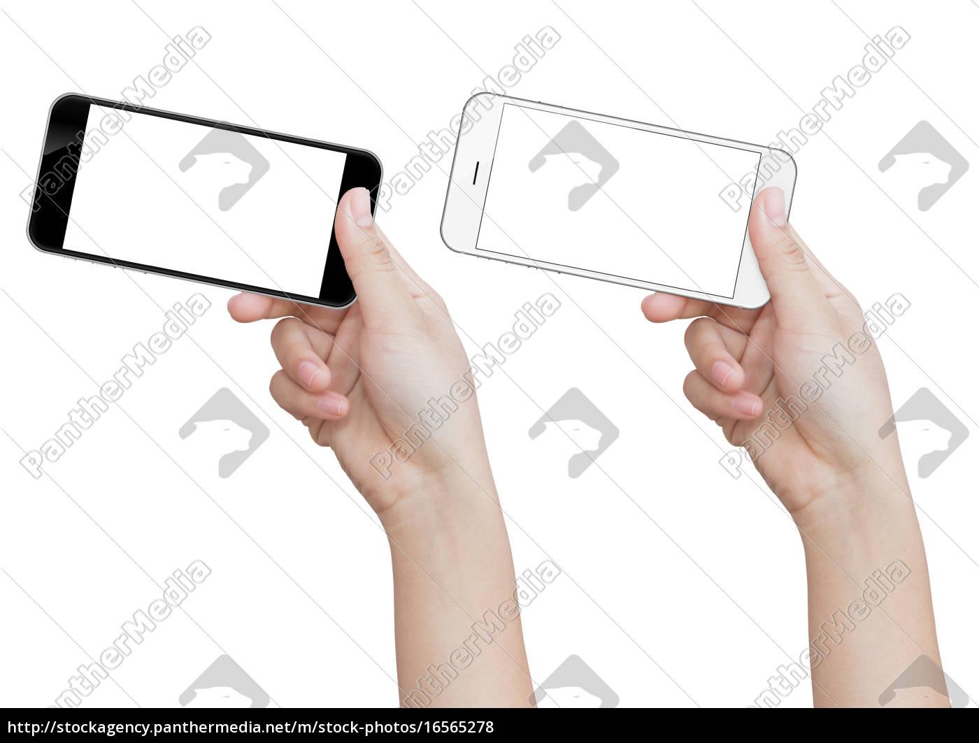 hand, holding, phone, isolated, on, white - 16565278
