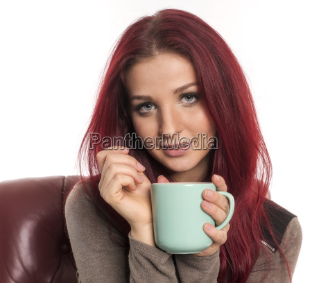 red haired girl in portrait is