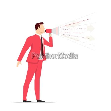 biznesmen czerwony garnitur megafon ilustracja wektorowa