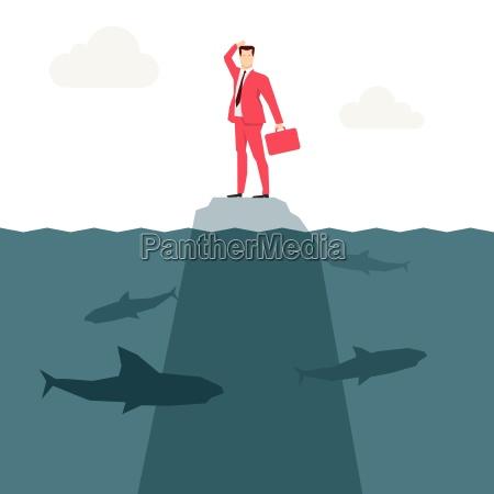czerwony garnitur biznesmen i rekiny ilustracja