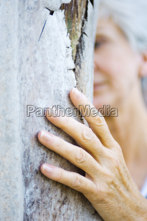 senior woman touching tree trunk cropped