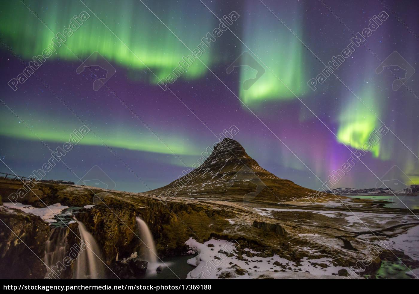 zorza, polarna, aurora, islandia - 17369188