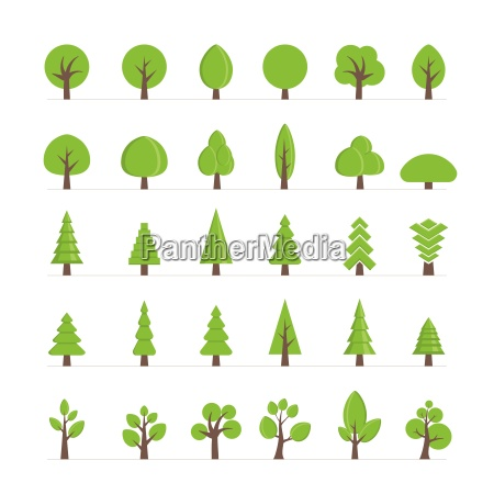 vector different trees bushes grass and