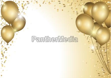 zlote balony i confetti falling