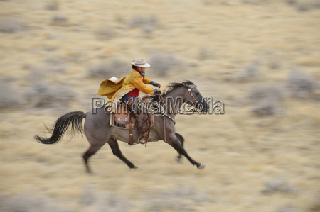 blurred motion of cowgirl on horse