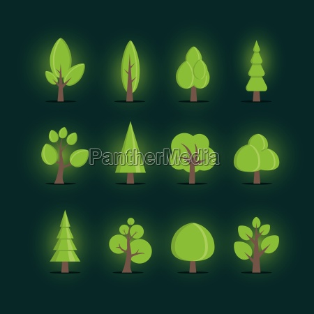 vector various tree collection elements are