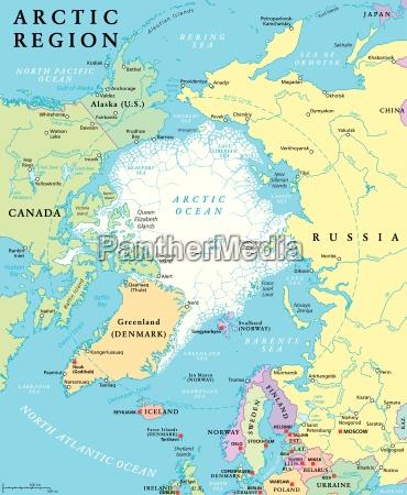 mapa polityczna regionu arktycznego