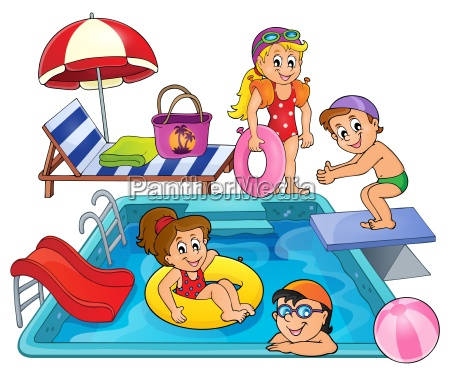 children by pool theme image 1