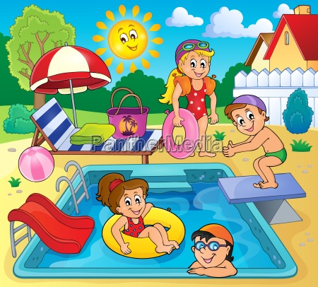 children by pool theme image 2