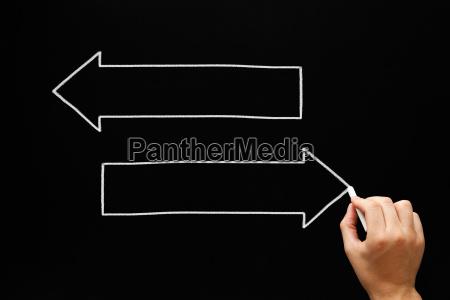 blank arrows concept blackboard