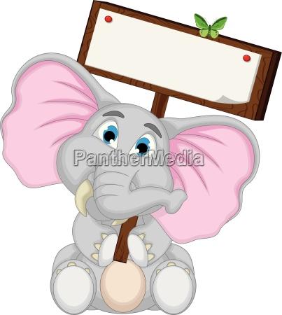 ladny slon kreskowka przytrzymanie pusty slonia