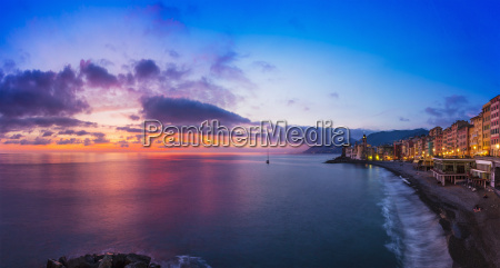 elevated view of coastline at sunset