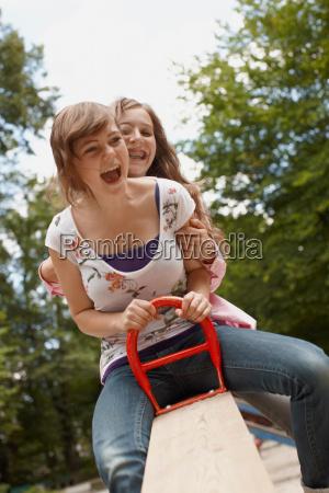 2 girls having fun together in