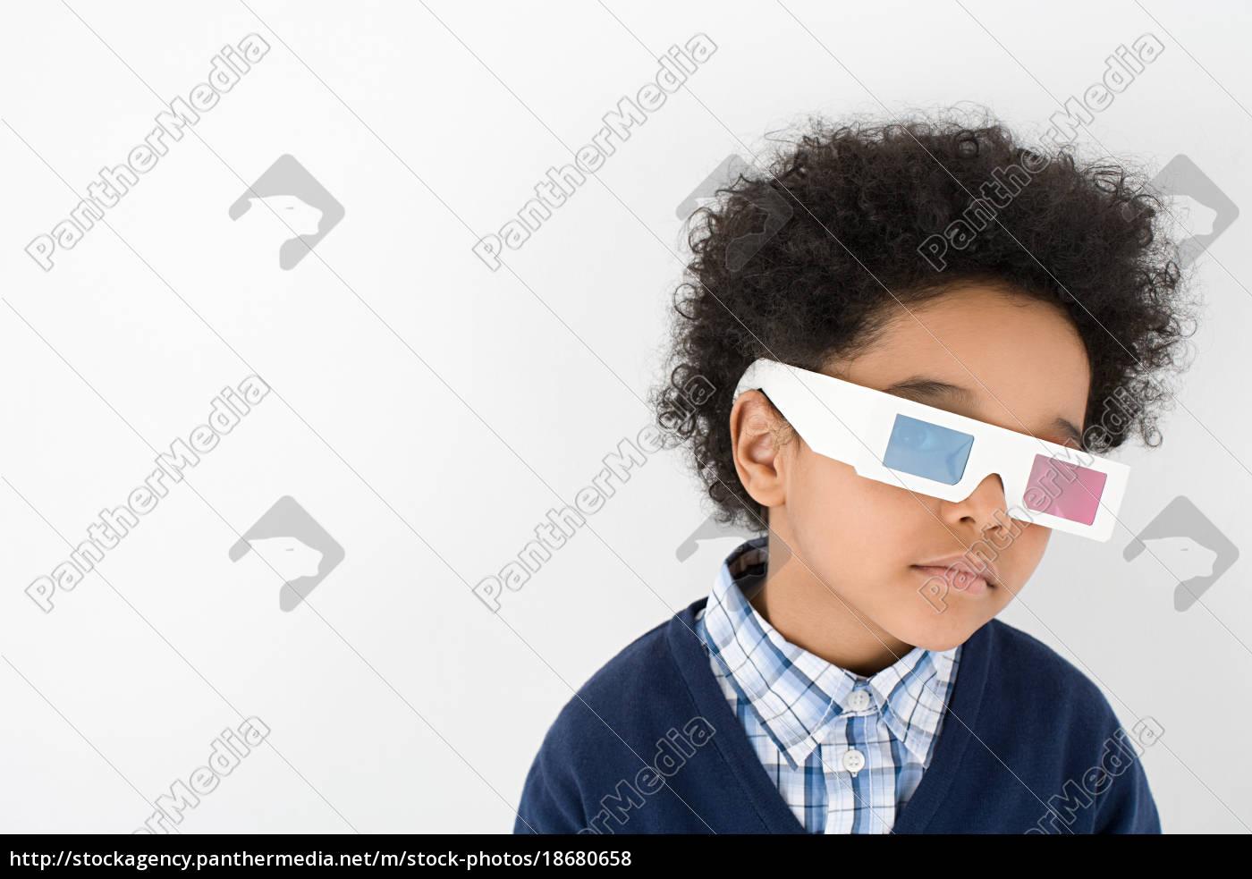 chłopiec, ubrany, w, okulary, 3d - 18680658