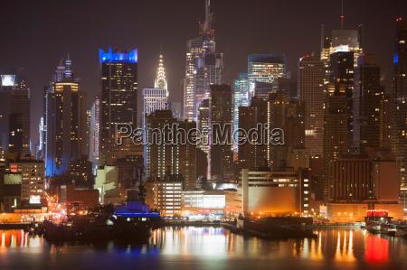 manhattan waterfront at night new york