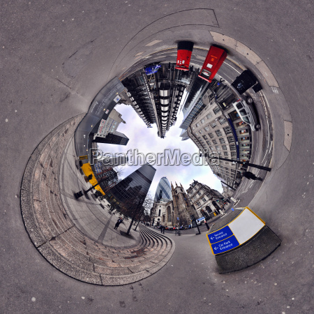 city of london with tunnel effect