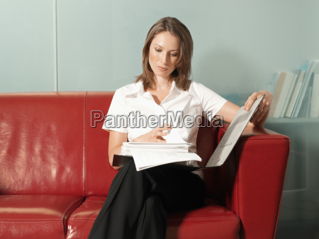 woman reading a report
